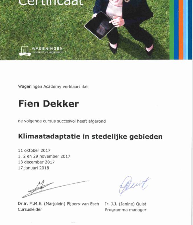 fien certificaat klimaatadaptatie in stedelijke gebieden